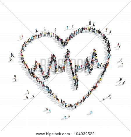 group people  form  heart cardio,