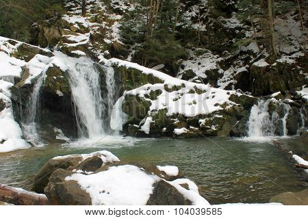 Carpathian winter waterfall