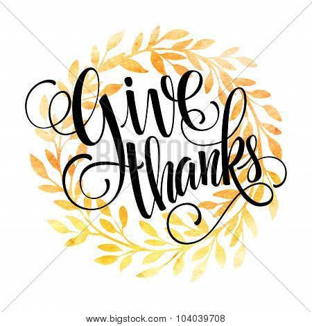 Thanksgiving card template. Watercolor painted vector autumn leaves. Vector illustration