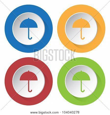 Set Of Four Square Icons With Umbrella