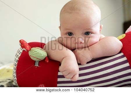 Thinking Newborn Boy Lying On A Crawling Roll
