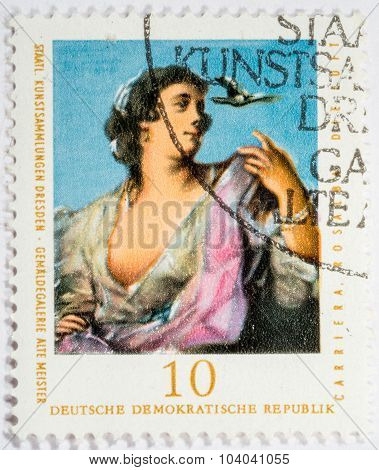Gdr - Circa 1976: A Stamp Printed In Gdr Shows A Staatliche Kunstsammlungen Dresden, Old Masters Pic