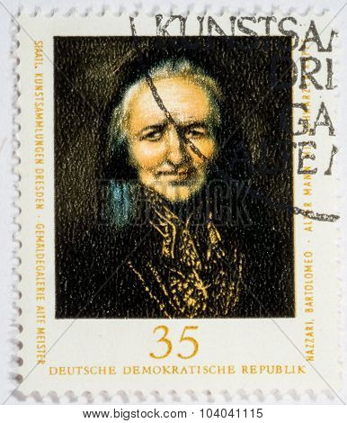 Gdr -circa 1976: A Stamp Printed In Gdr (east Germany) Shows Image Of Artist Bartolomeo Nazari