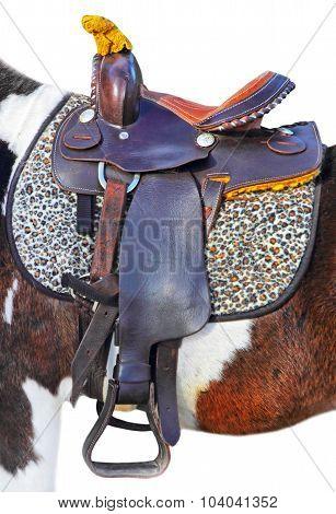 Pony Saddle On White Background.