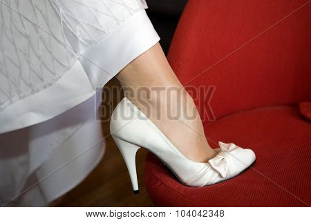 Bride's leg with the shoe