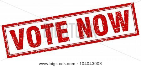 Vote Now Red Square Grunge Stamp On White