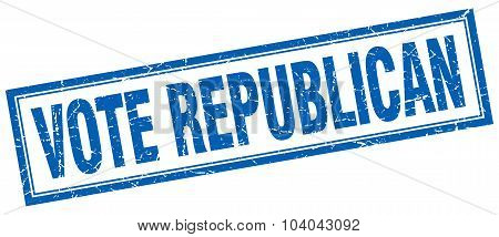 Vote Republican Blue Square Grunge Stamp On White