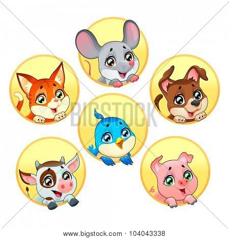 Funny pet faces. Vector cartoon isolated characters.