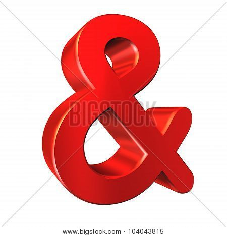 And Symbol. Red 3D Image On White Background