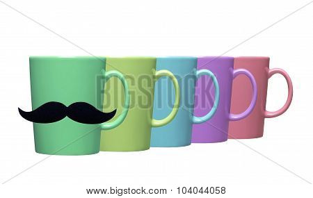 Set Of Colorful Teacups On White Background