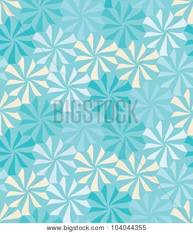 Vector modern seamless colorful geometry pattern flowers color blue abstract