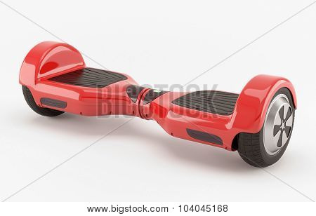 Two wheel electric self-balancing scooter. Red.