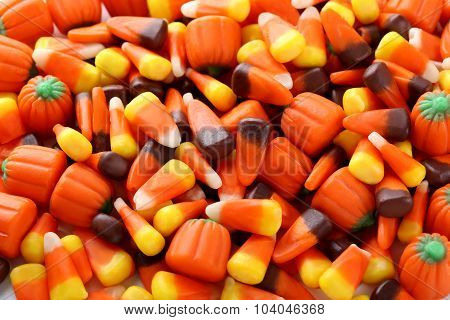 Halloween Candy Corns Background, Close Up