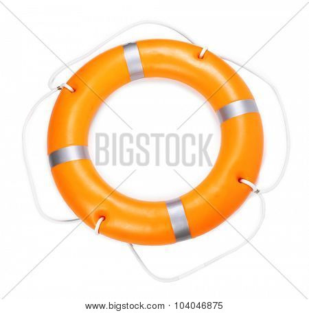 A life buoy for safety at sea, isolated on white