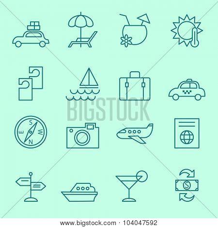Travel icons, thin line design