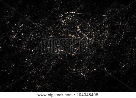 Dark Grunge Textured Wall Closeup - Black Chalk Rubbed Out On Blackboard.