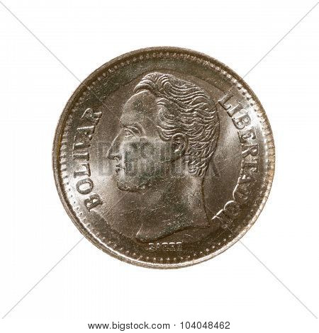 Twenty-five Cents Coin Venezuela Isolated On White Background. Top View.
