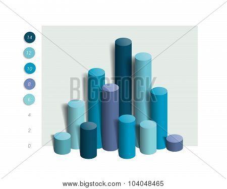 3D Colummn Chart, Graph. Simply Blue Color Editable.