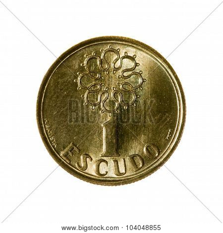 Portugal Escudo Coin One Isolated On White Background. Top View.
