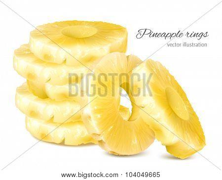 Pineapple rings. Vector illustration.