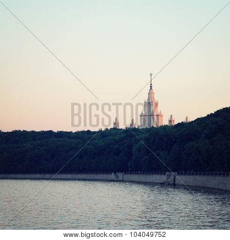 Moscow State University. View From The Riverbank.