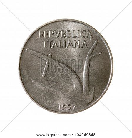 Coin Ten Lire Italy Isolated On White Background. Top View.