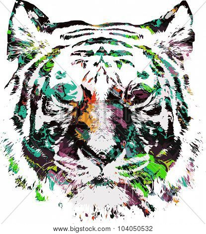 psychedelic illustration of tiger