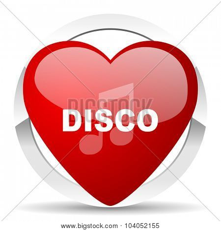 disco music red red heart valentine icon on white background