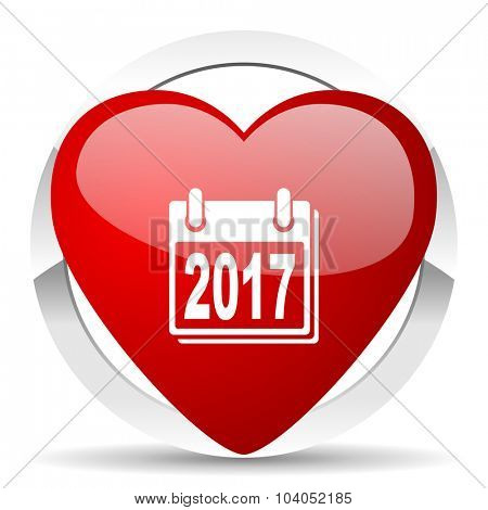 new year 2017 red red heart valentine icon on white background