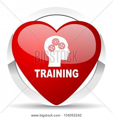 training red red heart valentine icon on white background