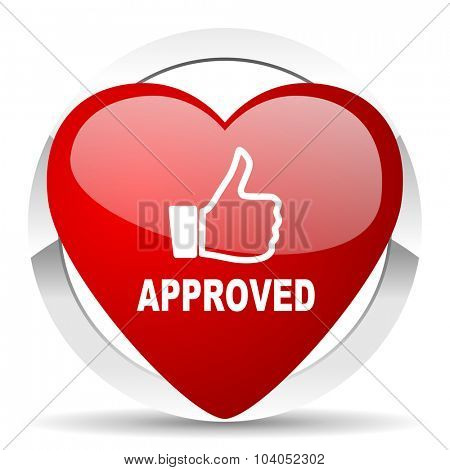 approved red red heart valentine icon on white background