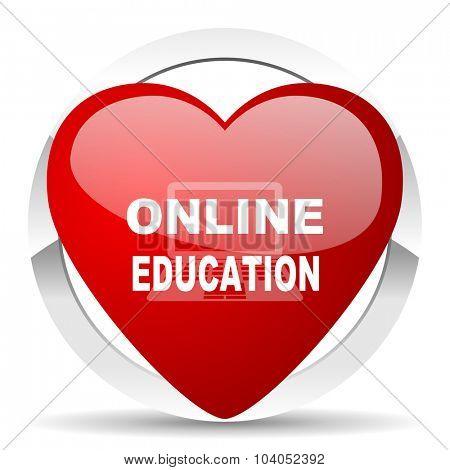 online education red red heart valentine icon on white background