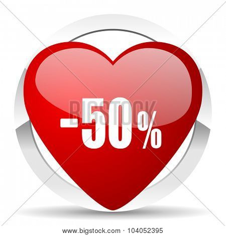 50 percent sale retail red red heart valentine icon on white background