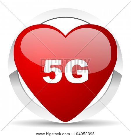 5g red red heart valentine icon on white background