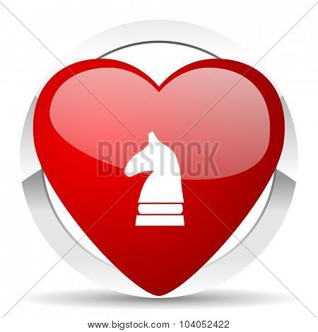 chess horse red red heart valentine icon on white background