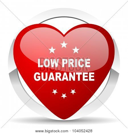 low price guarantee red red heart valentine icon on white background