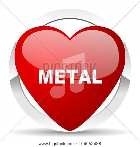 metal music red red heart valentine icon on white background