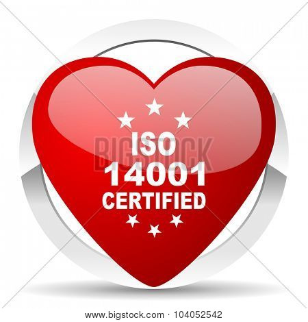 iso 14001 red red heart valentine icon on white background