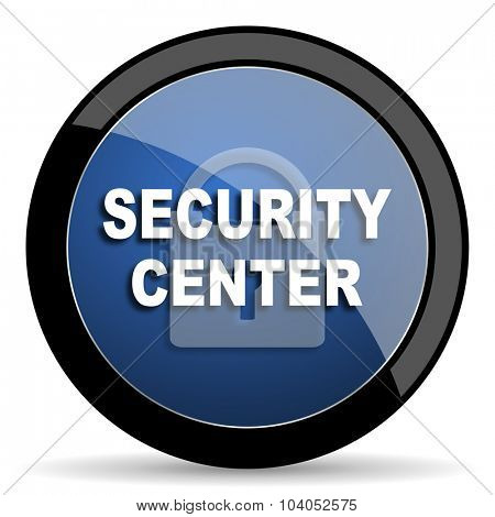 security center blue circle glossy web icon on white background, round button for internet and mobile app