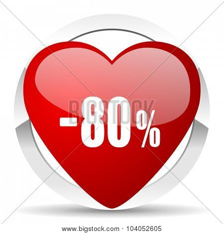 80 percent sale retail red red heart valentine icon on white background