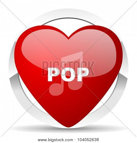 pop music red red heart valentine icon on white background