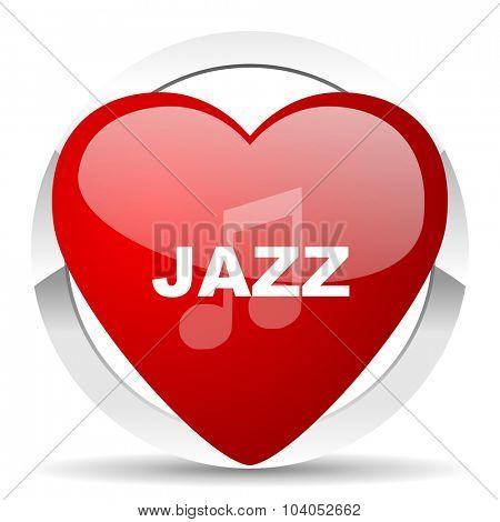 jazz music red red heart valentine icon on white background