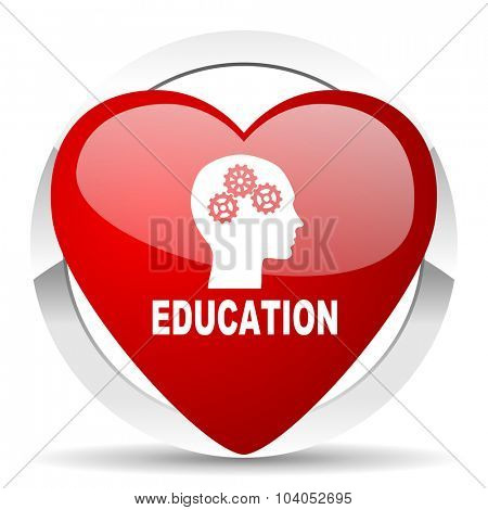 education red red heart valentine icon on white background
