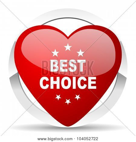 best choice red red heart valentine icon on white background