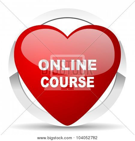 online course red red heart valentine icon on white background