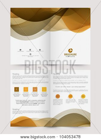 Two page, Professional Business Brochure, Flyer, Banner or Template with glossy abstract waves.