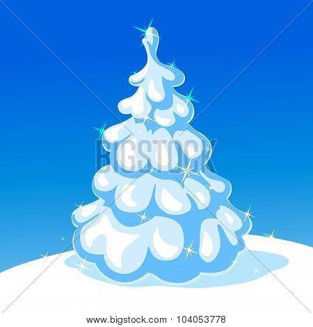 White Christmas Tree - Vector Illustration
