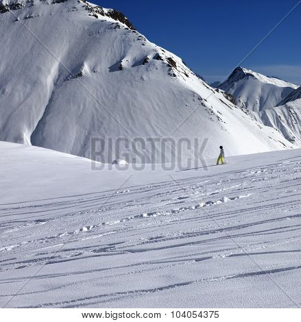 Snowboarder Downhill On Off Piste Slope With Newly-fallen Snow
