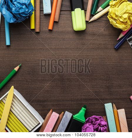 school supplies with copy space on table