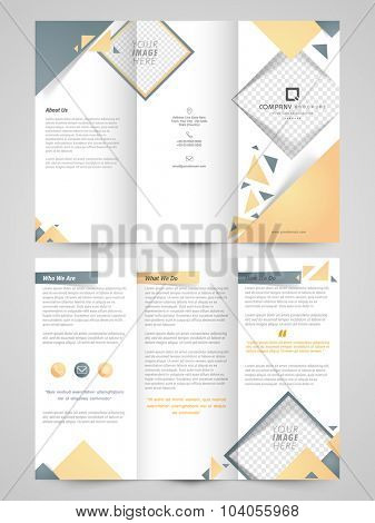 Glossy two page, professional Trifold Brochure, Template or Flyer design with space to add images for Business purpose.
